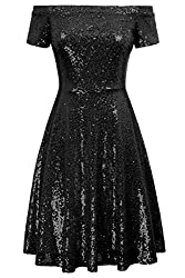 Black Sequin Short Sleeve Off Shoulder Pleated A-Line Dress