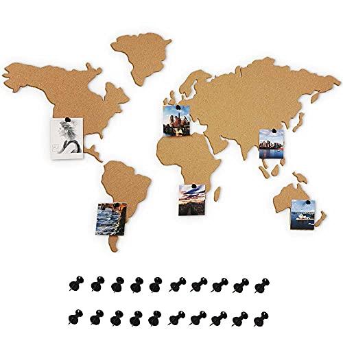 BAKAJI Bacheca Puzzle Mappamondo Globo in Sughero Adesivo da Parete con 20 Puntine Segna Paese Viaggio Cartina Geografica Decorazione Casa da Muro Dimensione 102 x 50 cm Design Moderno
