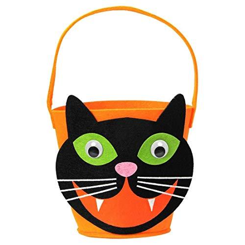 NET TOYS Niedlicher Trick or Treat Eimer Miezekatze - Orange-Schwarz - Witziges Party-Zubehör Halloween-Tasche für Süßigkeiten - Wie geschaffen für Gruselparty & Straßenkarneval