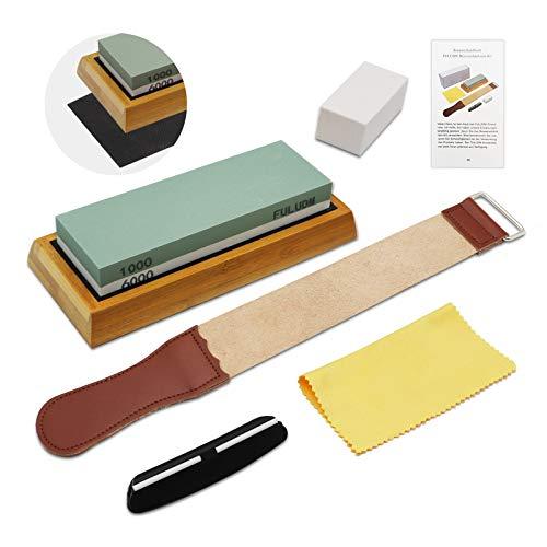 Abziehstein Wetzstein Schleifstein Set für Messer, Körnung 1000/6000 mit rutschfestem Silikonhalter 2-IN-1 Doppelseitiger Messerschärfer für Küche