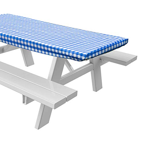 Sorefy Vinyl Picnic Table Fitted Tablecloth Cover Checkered Design Flannel Backed Lining 28 x 72 Inch 72quot Blue