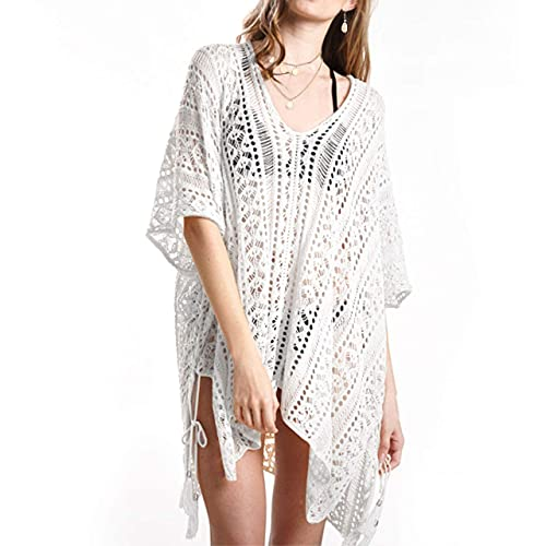 Vestido de Playa para Mujer, Vestido de Playa Ahuecado para Mujer Sarongs Bikini de Verano Traje de baño Coverups + Collar + Pendientes