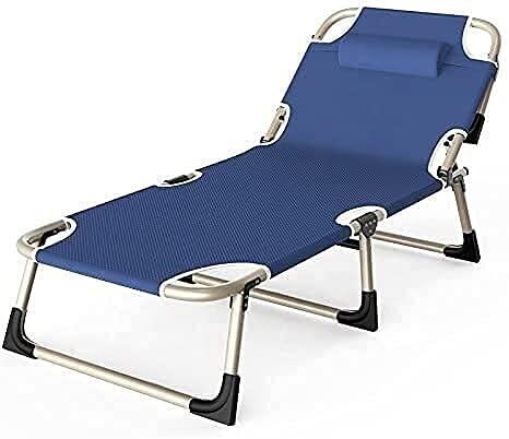 Sillón reclinable plegable al aire libre, silla de salón portátil plegable exterior con almohada, cama de playa, oficina, cama reclinable, para adultos, playa, tomar el sol