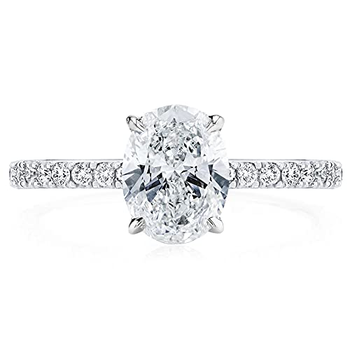 Bo.Dream Oval Cut 2ct 9x7mm Cubic Zirconia CZ Rhodium Plated Sterling Silver Engagement Ring Size 6