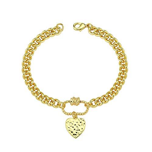 Luzdemia Pulsera chapada en oro de 14 quilates en acero inoxidable, longitud: 20 cm