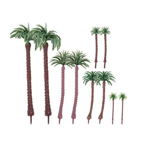 Artibetter 10 Piezas de árboles de plástico de Palmera de Coco de plástico diseño Artificial Selva Tropical para Tren Modelo Arquitectura ferroviaria Diorama Paisaje DIY Paisaje