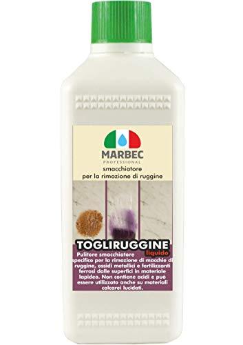 Marbec - TOGLIRUGGINE LIQUIDO 500 ML | Détachant spécifique pour enlever les taches de rouille, les oxydes métalliques et les engrais ferreux des sols et revêtements