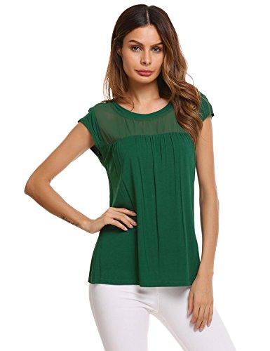 Meaneor Damen Kurzarm Basic T-Shirt Tops Bluse Sommer Shirt mit Rundhals duchsichtig Spitzeneinsatz Vorne
