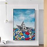 MDKAZ Pintura Decorativa en Lienzo Graffiti Art Paper Origami Boat Street Art Lienzo Pintura Carteles Impresiones Moda Pared Arte Imagen para decoración de Sala de Estar -50x70cm