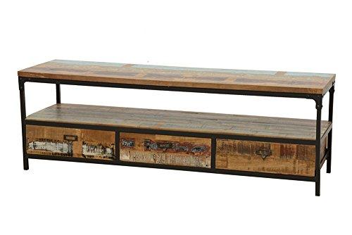 Industriel Bout de canap/é 1 tiroir Wolof Finition : Recycl/é Naturel Vieilli H/év/éa et Fer