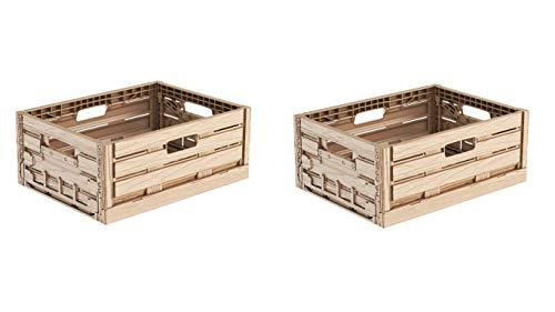 2x Faltbox im Holzdesign 40x30x16 * Klappbox für Obst, Gemüse * Obstkiste Gemüsekiste Holz Optik