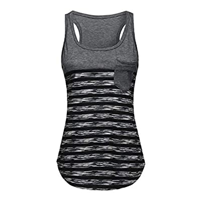 RAINED-Women's Sleeveless Tunic Tops Summer Color Block Striped Racerback Cami Tank Tops Round Neck T-Shirts