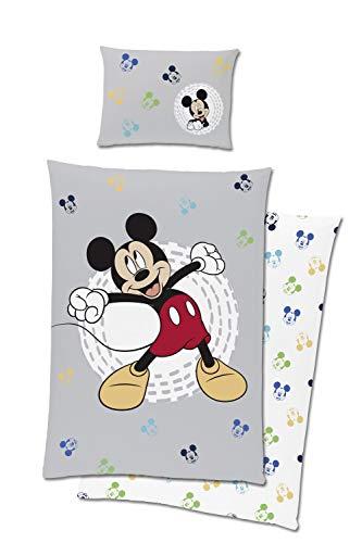 TexIdea Kleinkind Bettwäsche-Set Disney Mickey Maus 100 x 135 cm 40 x 60 cm 100prozent Baumwolle Linon Micky Mouse Baby-Bettwäsche