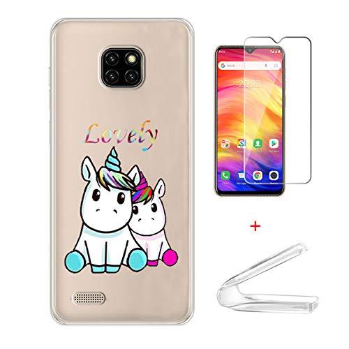 HYMY Hülle für Ulefone Note 7 + 1 x Schutzfolie Panzerglas - Transparent Schutzhülle TPU Handytasche Tasche Durchsichtig Klar Silikon Case für Ulefone Note 7 (6.1