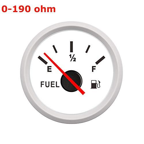 """Kraftstoffanzeige 52MM 2"""" 9-32V Kraftstoffanzeige Auto-Boots-Marine-E-1/2-F Fuel Tank Füllstandmessgerät 0-190ohm 240-33ohm Pointer Fuel Gauge CGFEUR ( Color : WW 0 190ohm , Size : Kostenlos )"""