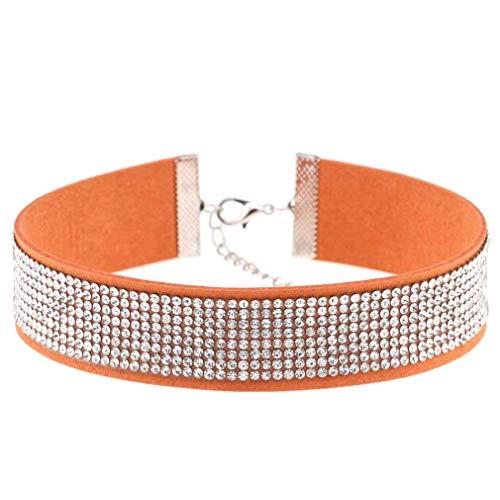 Collar de fiesta de mujer sexy diamante collar fiesta compras pared cuello banda naranja mascota