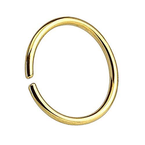 Piercingfaktor Universal Continuous Piercing Fake Hoop Ring Septum Tragus Helix Ohr Nase Lippe Nasenring Nasenpiercing Intim Brust Gold 0.8mm x 6mm