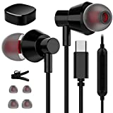 TITACUTE Auriculares USB Tipo C In-Ear con micrófono Auriculares con cable para Samsung Galaxy S21 Ultra S20 FE Note 20 Ultra, Huawei P40 P30Pro, OnePlus Nord 9 9 Pro 8T, Google Pixel 3XL/4 XL/5