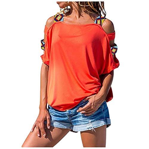 Bluse Damen T-Shirt Damen Sommer Elegant Frauen Volksbräuche Böhmen Top Short Druck Damenblusen Kurzarm Rundhals Ausschnitt Lose Hemd Pullover Sweatshirt Oberteil Tee Tops (Orange, S)