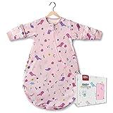 BN Lightweight Toddler Sleep Sack Cotton Baby Wearable Blanket with 2-Way Zipper, Long Sleeve Baby Sleeping Bag Camping 18-36 Months (L, Pink Bird, 0.5Tog)
