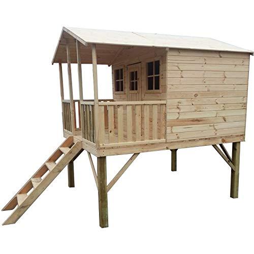 GardeTech Stelzenhaus Willy, mit überdachter Terrasse, aus FCS-Holz, B239 x T190 x H256 cm| Dach mit Pappe, Holztür mit Fenster, 2 Fenster mit Plexiglasscheiben, Leiter, Geländer | Gewicht 350 kg, TÜV