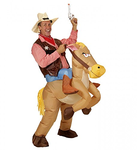 shoperama Aufblasbares Huckepack Kostüm Cowboy auf Pferd Reiter Herren Wilder Westen