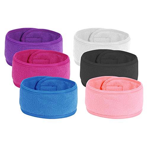TAZEMAT 6 Stück Kosmetik Stirnband Frottee waschbar Haarband mit Klettverschluss Verstellbare Haarschutzband Frottee bei Schminken Sport Yoga Spa Bad Gesichtsreinigung