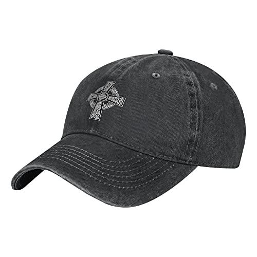 Celtic Cross Irish Hat Unisex Adjustable Baseball Cap Washable Cotton Trucker Cap Cowl Black