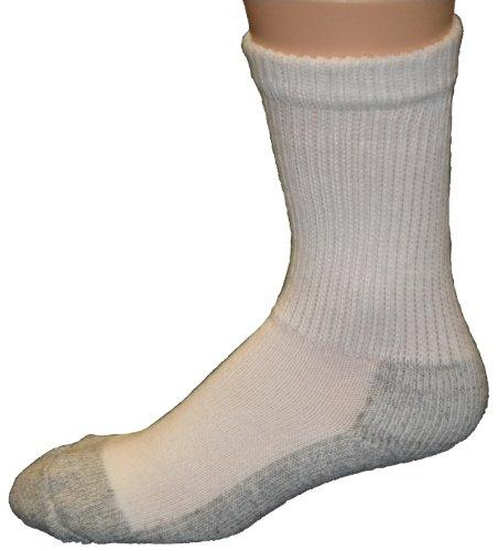 Cushees Men's Crew Socks [160] (Large) White/Grey
