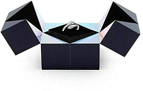 FEDBNET Caja de anillo creativa, caja de regalo de cubo mágico, caja de regalo de joyería, caja de almacenamiento giratoria, diseño abierto, anillo ajustable para amantes, bodas, día de San Valentín