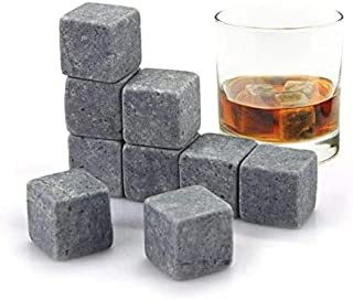 Whisky Stones Set of 9 Grey Beverage Chilling Stones for Whiskey and other Beverages, Perfect Chill Rocks Stones with Velv...