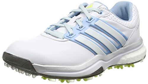 adidas Damen Adipower Boost Golfschuhe, Weiß (White/Soft Blue/Sunny Lime), 37 1/3 EU
