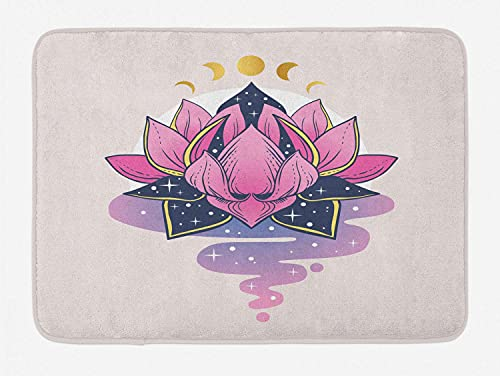 Yoga Door Mat, Mystic Lotus Flower In Water Meditation Botany and Moon Digital Art, Decorative Bath Mat with Non Slip Backing, 40X60 Cm, Dark Slate Blue Pink