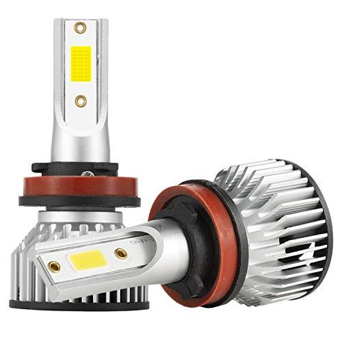 Nrpfell 2X H8 / H9 / H11 Faros Delanteros LED Kit de Haz Alto y Bajo 4000W 30000LM Bombillas Blanco 6500K