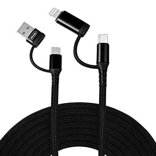 4 in 1 Multi USB Charging Cable [2 Pack] with Data Transfer, Fast Charge 1m/ 3.3FT Soft Silicon Nylon Braided Cord Charger Adapter with USB C x 2/Micro USB/USB Ports for Android and Type C devices