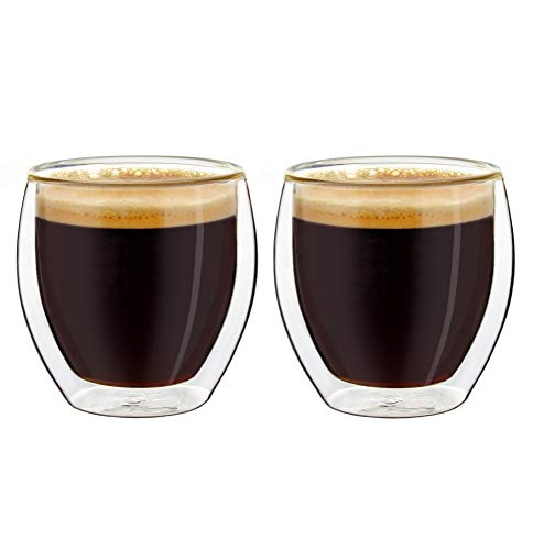 Creano Conjunto de 2 Vasos de Café Expreso de Doble Pared, Vasos...
