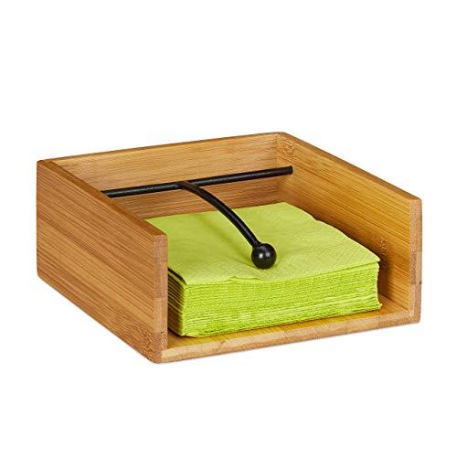 Relaxdays Servilletero de Mesa con Peso, Bambú y Acero Inoxidable, Marrón 25 x 25 cm