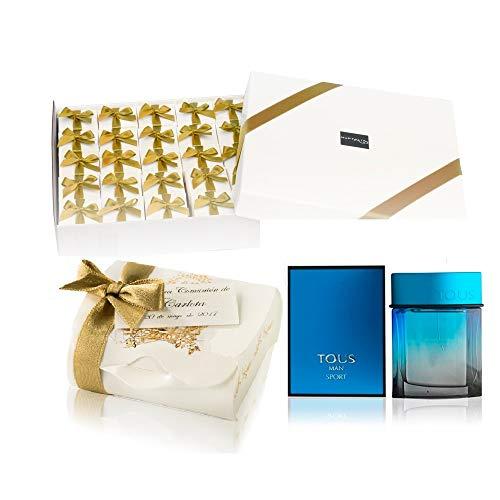 Pack 25 mini perfumes de hombre como detalles de Primera Comunión para invitados Tous Man Eau de toilette 4,5 ml. original en baul comunion y tarjeta personalizada