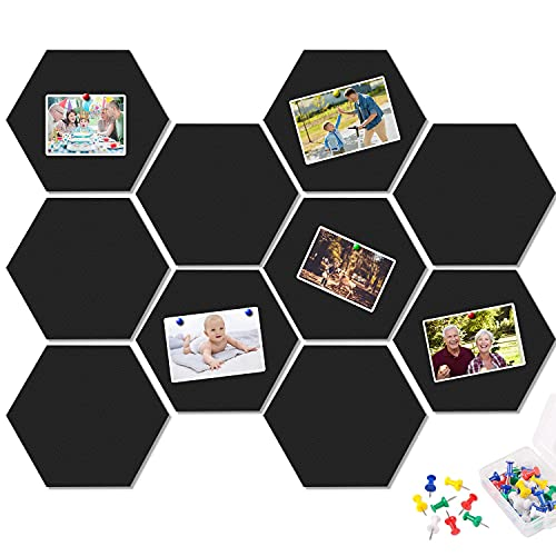 10 Packs Pin Board Hexagon Felt Board Tiles Bulletin Board Memo Board with 20 Pieces Push Pins, Decoration for Home Office Classroom Wall