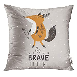 VANMI Throw Pillow Cover Colorful Animal Be Brave Little One for Children with Cute Indian Fox in Cartoon Style and…