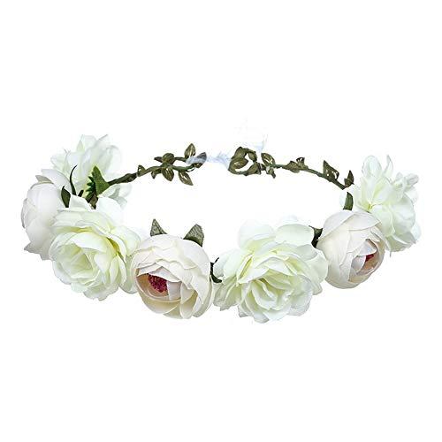 YAZILIND Rose Blume Kopfschmuck Handgemachte Haarschmuck Festival Stirnband Hochzeitskleid Zubehör Weiß