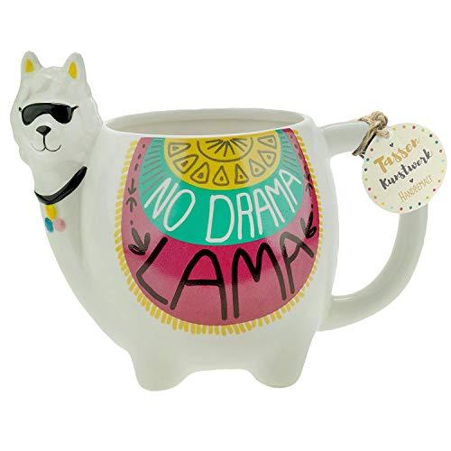 Die Geschenkewelt 46343 Kaffeetasse Figur Lama, Dolomite, 50 cl, mit Geschenktag
