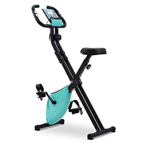N \ A Bicicleta estática Plegable, Bicicleta Vertical Fija, Bicicleta estática Plegable magnética en Forma de X con Asiento Acolchado y Consola LCD, con Soporte para Tableta y Asiento Grande y cómodo