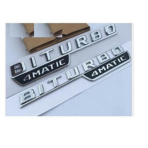 Letras de Letras de Guardabarros de Emblema Cromado Biturbo 4mático Insignias de emblemas adecuados for Mercedes 2017+ (Color : Matte Black)