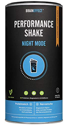BRAINEFFECT NIGHT MODE - Protein Performance Shake mit Magnesium & Ashwagandha - Vegan, Germany Quality - Geschmack: Kakao-Kokos
