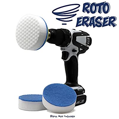 RotoEraser   Drill Powered Magic Cleaning Eraser Sponges   High Density Melamine Scrubber Pads with Drill Attachment for The Bathroom, Kitchen, Floors, Baseboards, Grout, Magic Marker, Walls & More