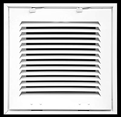 """Steel Return Air Filter Grille for 1"""" Filter - Fixed Hinged - Ceiling Recommended - HVAC Duct Cover - Flat Stamped Face"""