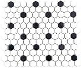 Mosaico de azulejos de cerámica hexágono, negro y blanco, mate, para cocina, MOS11A-0301_f, 10 piezas