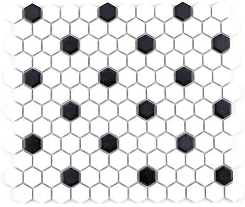 Mosaik Fliese Keramik Hexagon schwarz weiß matt Fliesenspiegel Küche MOS11A-0301