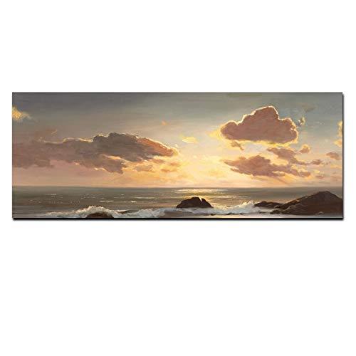 ZFDYH Impresión HD Puesta de Sol en el mar Olas oceánicas Paisaje Pintura al...